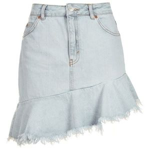 Topshop Moto Asymmetrical Hem Denim Skirt